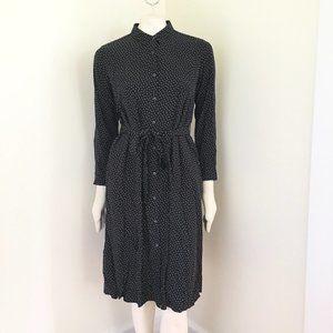 UNIQLO Polka Dot Belted Midi Shirt Dress B&W SZ M